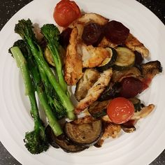 Chicken, cooked in paprika, garlic and pepper with roasted veggies and pan fried broccoli