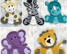 Crochet Zoo Animals by Nellas Cottage - crochet envyRavelry: Sittin' Zoo Cuties pattern by Jen Mitchell - Nella's Marvelous Photo of Crochet Applique Patterns Free Animal - Lyndsey Smethurst Inspiration Picture of Origami Decoration Bed Crochet Applique Patterns Free, Crochet Motifs, Crochet Flower Patterns, Crochet Flowers, Knitting Patterns, Afghan Patterns, Crochet Appliques, Free Pattern, Crochet Ideas