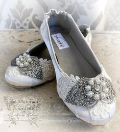 CRYSTALLINE wedding bridal flats, romantic Victorian, vintage inspired fairytale bridal flats, made to order sizes 5 - 11