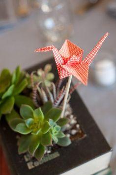 Vivian & Garret's Wedding, Talega Golf Club | Details Details - Wedding and Event Planning, succulent centerpiece, Japanese wedding origami cranes, simple and sweet decor