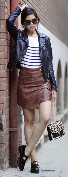 m_527fc9cdd00cbf094a05e4de.jpg (580×580) | Hm brown leather skirt ...