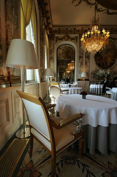Le Meurice.  All is shiny and gold and crystal chandeliers and clickety-clackety marble floors at Le Meurice, plus to-die-for food in one of Paris's great dining rooms. Do dress up, though, won't you?