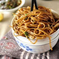 Soba noodles with sweet ginger scallion sauce. Delicious and healthy indulgence in minutes.