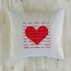 Love Embroidered in Languages of the World  Red by LucyLynDesigns