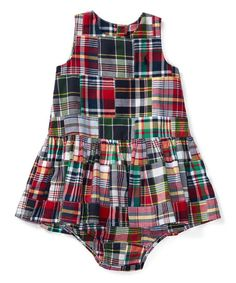 Ralph Lauren Blue & Red Madras Patchwork Dress & Diaper Cover - Infant | zulily