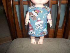 Baby 12 inch Alive doll handmade dress blue with Christmas Dogs on it by sue18inchdollclothes on Etsy