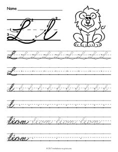 Free Printable Cursive L Worksheet