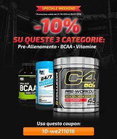 ☆ COUPON SCONTO ☆ Ulteriore -10% su Pre-Allenamento, BCAA e Vitamine! Info Prodotti: http://goo.gl/B4USsO