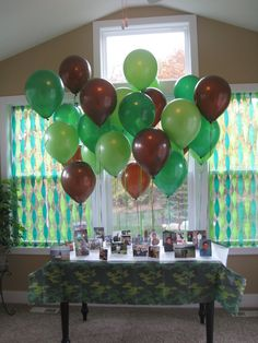 Balloon picture display - anniversary party idea