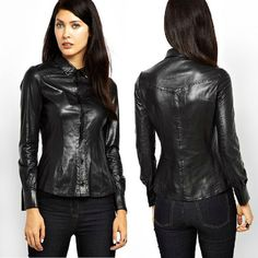 black leather shirt women - Google Search