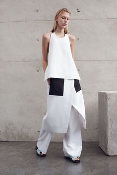 Contemporary Fashion - monochrome tailoring with clean lines & layers // Josh Goot Resort 2016