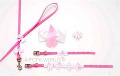 Breast Cancer Awareness Dog Collar, Leash and Hair Bows