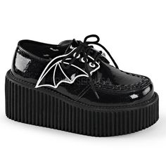 Demonia Damen Vegan Glitter Creeper-205 schwarz Gr.40