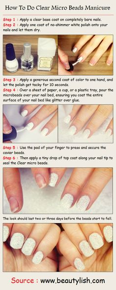 How To Do Clear Micro Beads Manicure | PinTutorials