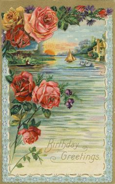 Vintage Post Card with roses