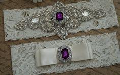 DIANA Style A-Wedding Garter Set, Bridal Garter Set, Ivory Lace Garter, Blue Garter, Purple Garter Set on Etsy, $25.95