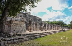 """""""Temple of the warriors"""" - Its name comes from the mostly armed figures represented on the pilasters, columns and benches. The portico is flanked by serpent columns and the corners and outer walls have huge Chac masks. Cancun, Tulum, Swimming With Whale Sharks, Mayan Ruins, Tour Operator, Archaeological Site, Riviera Maya, Merida, Columns"""
