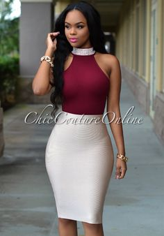 Chic Couture Online - Iesha Burgundy Jeweled Neck Racer Bodysuit, (http://www.chiccoutureonline.com/iesha-burgundy-jeweled-neck-racer-bodysuit/)