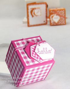 Pootles Stampin Up UK 2x2x2 Cube Fold Flat Favour Box with video tutorial