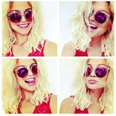 "Blogger Nalasu enjoying sunglasses Anderne -  "" Against All Odds "" pink mirror lenses style LBL-M !"