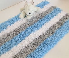 Blue Shag RugFleeceBoy Nursery RugBaby Boy by CindyLouHou2 on Etsy, $34.00