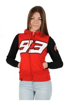 Woman Hoodie. Marc Marquez sweatshirt with a sporty look, inspired by the colours of the Spanish rider, Red sweatshirt with adjustable hood, featuring black inserts on the sleeves, inner white padding, side pockets and zip opening. The Marc Marquez race number 93 stands out on the chest, with MM93 lettering on the back. The Ant mascot wearing a helmet is featured on the left sleeve, adding the finishing touch to this look. #marcmarquez #hoodie #motogp2017
