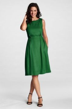 Women's Regular Stretch Linen Portrait Collar Dress from Lands' End
