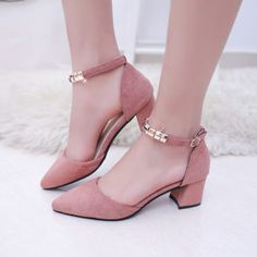 Womens Pointy Toe Solid Buckle Strap Low Block Heel Dating Casual Shoes Sweet Sz Kitten Heel Shoes, Shoes Heels Pumps, Ankle Strap Heels, Ankle Straps, Toe Shoes, Sandals, Cheap High Heels, Sexy High Heels, Kawaii Shoes