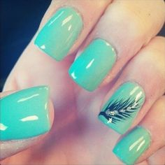 feather, mani, manicure, pedicure, green, nail art, weheartit.com/amyjenelle, nails, neon, teal, turquoise, pedi