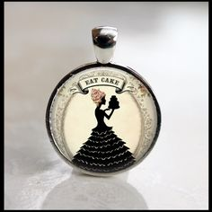 Eat Cake Whimsical Lady  Resin Tile Necklace Jewelry Silver Bezel. $7.95, via Etsy.
