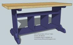 Kid's Elementary Trestle Storage Play Table