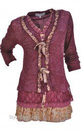 AP Layered Victorian Tunic In Burgundy