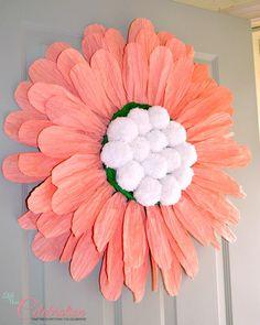 DIY {Big} Paper Twist Door Flower - Get the how-to at littlemisscelebration.com! @CindyEikenberg