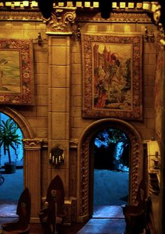 Colleen Moore's Fairytale Castle... this is the entryway, the tiny tapestries are real... the castle is on display at Chicago's Museum of Science and Industry