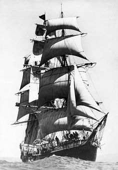 """The 'Joseph Conrad' is an iron hulled, fully rigged ship launched in Formerly known as the """"George Stage."""" Now a museum ship at the Mystic Seaport, CT. Mystic Seaport, Old Sailing Ships, German Submarines, Honfleur, Full Sail, Vintage Boats, Le Havre, Sail Away, Set Sail"""