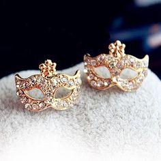 Fashion Full Rhinestones C Mask Stud Earrings--Cheap Wholesale
