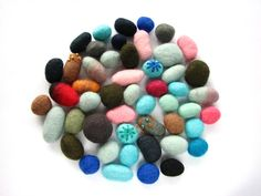 MEGA SALE Felted wool beads / pebbles. Mix of 50 pcs. Perfect for decoration or jewelry by Smika on Etsy https://www.etsy.com/listing/212290875/mega-sale-felted-wool-beads-pebbles-mix