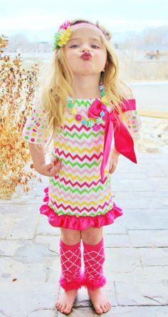 Fairytale Chevron Polka Dot Ruffle Dress-