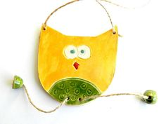 Harvest Yellow and Forest Green Tante Owl Ceraic by Ceraminic