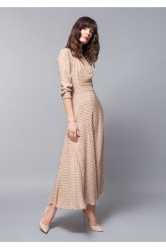 A nude beige ankle length dress in matte silk with shiny dots in the same hue. A shawl collar and three quarter length sleeves fitted at the waist with a a line skirt flowing down. Simply elegant by Alexander Terekhov. Modest Dresses, Simple Dresses, Elegant Dresses, Cute Dresses, Beautiful Dresses, Vintage Dresses, Casual Dresses, Vestido Smart Casual, Dress Outfits