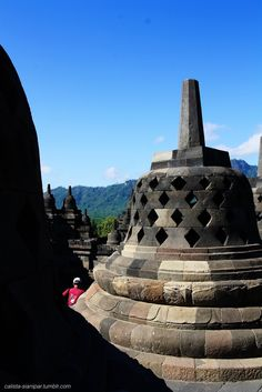 one of the stupas of Borobudur Temple in West Java