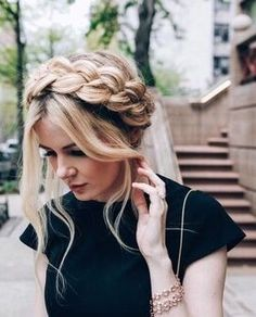 Milkmaid braid looks great with thick hair,. Messy Hairstyles, Pretty Hairstyles, Dutch Braided Hairstyles, Summer Hairstyles, Hairstyle Ideas, Braided Hairstyles Tutorials, Christmas Hairstyles, Braided Updo, Pretty Braids