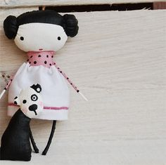 Little Doll with dogs by mirianata on Etsy