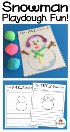 Snowman playdough mats. Students make a fancy snowman with playdough and write a description of their snowmen. FREE download.