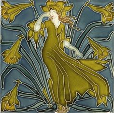 Daffodil tile from Flora's Train by Walter Crane (1845-1915)  for Pilkington's Tile and Pottery Co. Earthenware, with relief decoration painted with coloured glazes, England, c. 1900   © V Images/Victoria and Albert Museum, London
