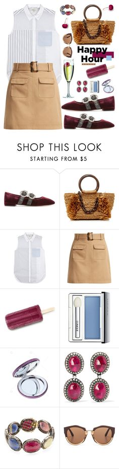 """Bottoms Up: Happy Hour"" by hamaly ❤ liked on Polyvore featuring Miu Miu, Carolina Santo Domingo, 3.1 Phillip Lim, AlexaChung, Clinique, Amrapali, Artisan, Marni, outfit and ootd"