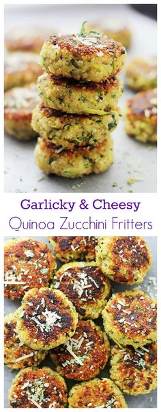 Garlicky & Cheesy Quinoa Zucchini Fritters | http://www.diethood.com | Packed with Quinoa and Zucchini, these Fritters are super delicious and very easy to make!