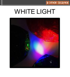 white light is created with red, green and blue light beams