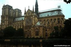Notre Dame cathedral is located in Paris, France and was completed in 1345. It was the first building to use flying buttress which are used to hold the walls of the cathedral up. It also has vaulted ceilings which is common in Gothic architecture. The cathedral is surrounded by stained glass windows that let in light. In Gothic architecture the walls are very tall and thin. The buttress help support the walls.