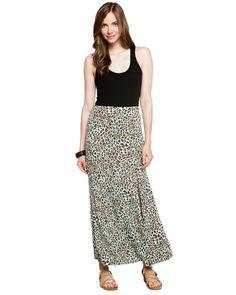 Karen Kane Aqua Leopard Print Maxi Skirt